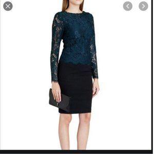 Ted Baker Vendela lace green black dress 0 nwt